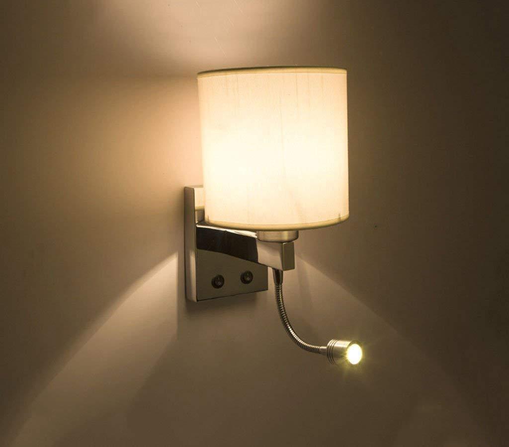 Mirror Lamps Home An der Wand befestigte Moderne Kurze Bett-Wand-Lampen LED-Wand-Lampen Leselampen-Schlauch für Leseraum-Beleuchtung Stoff-Lampenschirm (Farbe   Round)
