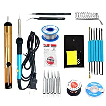 YaeTek Electric Soldering Iron Kit with 60W 110V Adjustable Temperature Welding Iron,Solder Wire,Solder Sucker,Solder Stand,Screwdriver,Soldering Tips,Maintenance of Cables
