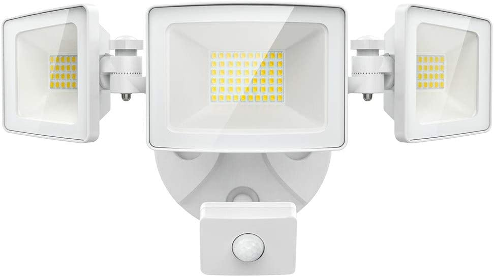 Olafus 50W LED Security Lights Motion Sensor Outdoor, 3 Head Flood Light with Motion Detector, 5000LM, IP65 Waterproof Exterior PIR Floodlights, Outside Motion Lighting for Garage, Yard, 6000K White