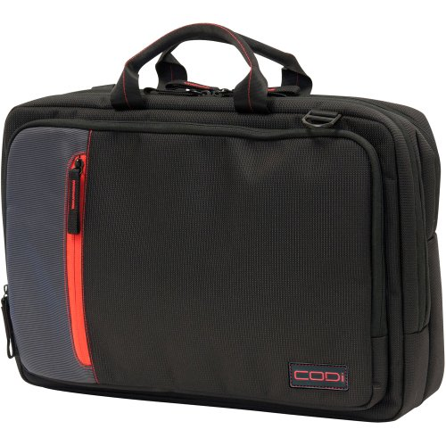 (CODi Ultra Lite Top Load Briefcase for Laptops up to 15.6 Inch, Black with Red/Grey Accents (C1009))
