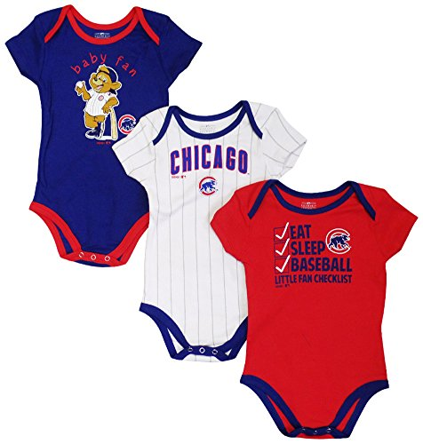 (Chicago Cubs Play Ball Infant 3-Pack Creeper Set 12 Months)