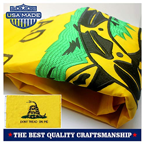 Tread Dont Flag Gadsden (VSVO Embroidered Gadsden Flag (Don't Tread On Me) 3x5ft with Long Lasting 300D Nylon, Double Sewn Stripes and Brass Grommets, UV Protected, Best 3 by 5 American Flag)