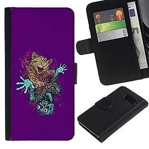 Paccase / Billetera de Cuero Caso del tirón Titular de la tarjeta Carcasa Funda para - Cute Cat & Skeleton Abstract - Samsung Galaxy S6 SM-G920