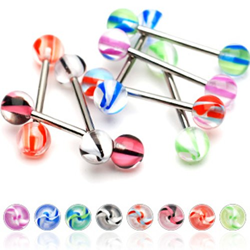 Screw Marble Acrylic WildKlass Balls 316L Surgical Stainless Steel WildKlass Barbell (Sold by Piece)