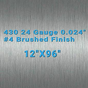 "36/"" X 96/"" 430 Stainless Steel Sheet Wall Covering #4 Brushed 24 Gauge 0.024/"""