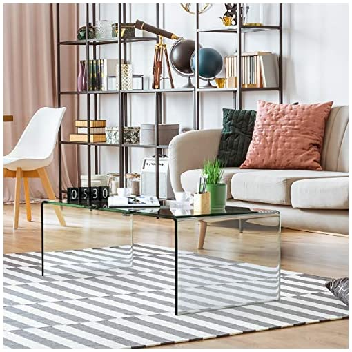Living Room Tangkula Glass Coffee Table, 42.5″ L × 20″ W ×14″ H, Modern Home Furniture, Clear Tempered Glass End Table, International Occasion Tea Table, Waterfall Table with Rounded Edges (Clear) modern coffee tables