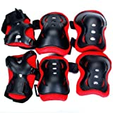 Kid Cycling Roller Skating Knee Elbow Wrist Protective Pads - Black And Red / Made of Durable, Soft EVA Padded Material with Tough Plastic Plates--Suitable for Skateboard, Biking, Mini Bike Riding and Other Extreme Sports