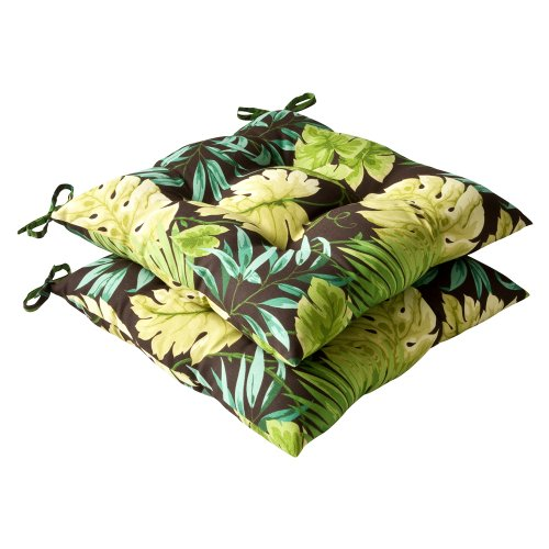 Tropical Cushion - Pillow Perfect Indoor/Outdoor Green/Brown Tropical Tufted Seat Cushion, 2-Pack
