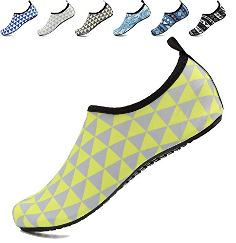 for Aqua Yoga Womens Beach Pool AoSiFu Socks Shoes Swim Barefoot Mens Exercise Yellowgray and Surf Water txcwqPC0