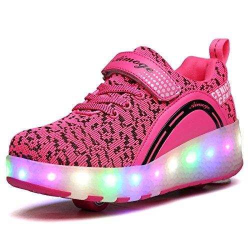 ADREAMONE Unisex Schuhe mit Rollen Kinder Skateboard Schuhe Rollschuh Schuhe LED Light Wheels Sneakers Outdoor-Trainer Für Junge Mädchen Rot/shuang