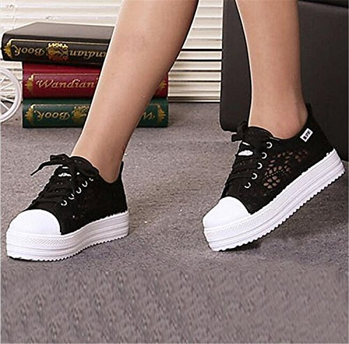 Shoes Women Flat Cutouts Shoes Shoes Canvas Hollow Casual Breathable Summer Platform Lace Black Floral Sw1FYXnq6
