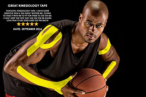 Physix Gear Sport Kinesiology Tape - Free Illustrated E-Guide - 16ft Uncut Roll - Best Pain Relief Adhesive for Muscles, Shin Splints Knee & Shoulder - 24/7 Waterproof Therapeutic Aid (1PK YEL) by Physix Gear Sport (Image #4)