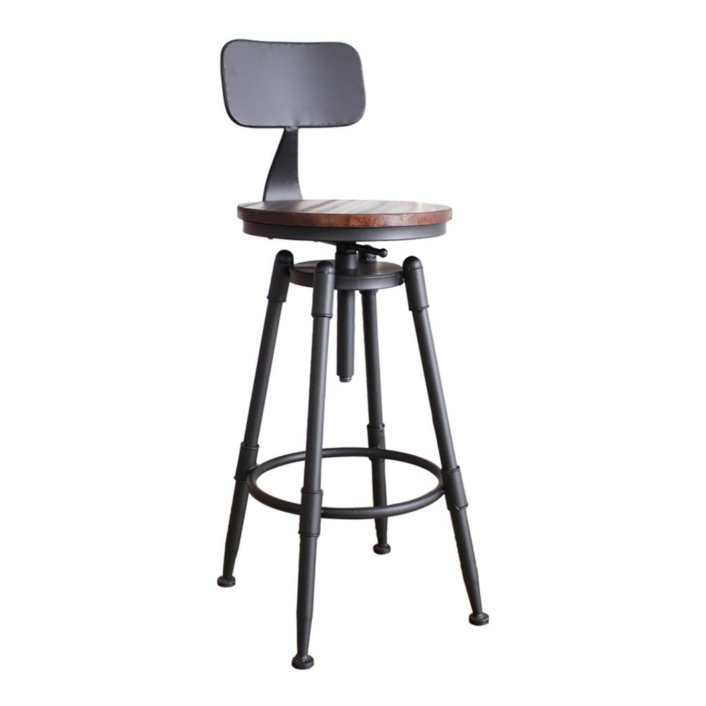A Bar Chairs Retro High Foot Stool redate Height Adjustable with Back Counter Seat Iron Art for Cafe Kitchen 0522A (color   A)