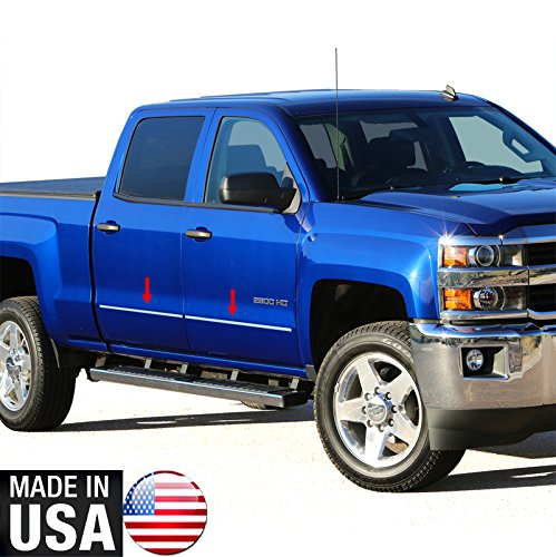 Made In USA! 14-2015 Chevy Silverado GMC Sierra Double Cab Body Side Molding Trim Factory Style 1 1/8'' Wide 4PC (Side Molding For 2014 Silverado compare prices)