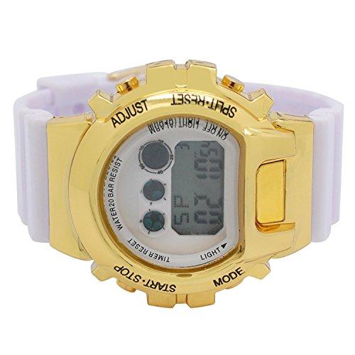 Digital Sports Techno Shock Designer Watch Gold Case White Dial