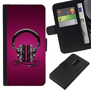 EJOY---La carpeta del tirón la caja de cuero de alta calidad de la PU Caso protector / LG G2 D800 / --Auriculares púrpuras