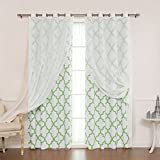 Best Home Fashion Mix & Match Muji Sheer Linen and Room Darkening  Reverse Moroccan Print Curtain Set – Stainless Steel Nickel Grommet Top – Green – 52″W x 96″L – (2 Curtains and 2 Sheer curtains)