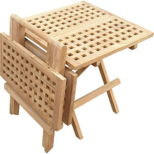 Seven Seas Teak Square Outdoor Patio Folding Picnic Table, Made from Solid Teak Wood