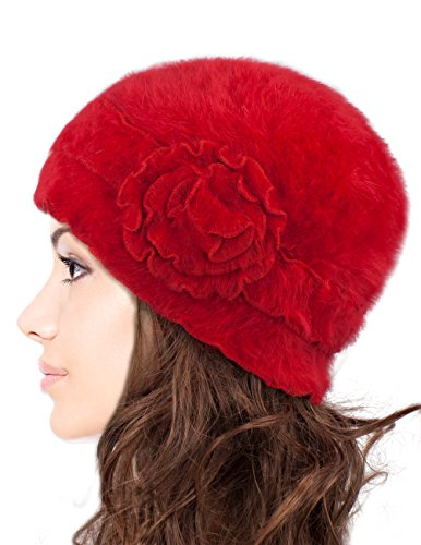 Red Hats Crochet Hat (Dahlia Women's Super Soft Flower Laciness Knit Beanie Hat - Red)