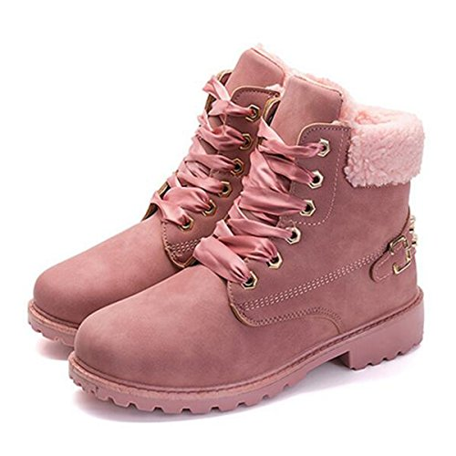 Fur Ankle Faux Boots Outdoor Women For Snow Hiking Winter Slduv7 Lace Leather Bootie Womens gXxvfw