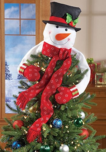 - Collections Etc Christmas Hugging Snowman Tree Topper with Red Mittens and Draping Red Scarf - Festive Christmas Tree Decoration