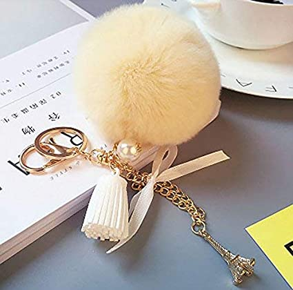 9c748f28070e Elegant Gift of Real Rabbit Fur Pom Pom Ball Keychain Handbag Tote Bag Key  Ring with