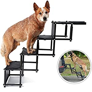 Car Dog Steps Pet Stairs Foldable Pet Ladder Portable Lightweight Pet Ramp Loadable Up to 80 Kg Nonslip Car Dog Step… Click on image for further info.
