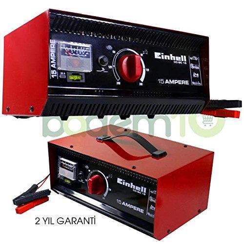 Einhell CC-BC 15 Caricabatteria per Batterie da 6-12-24 Volt, Amperometro Integrato, Rosso 1075031