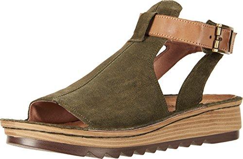 NAOT Footwear Women's Verbena Sandal Brushed Oliy Olive Suede/Vintage Camel Lthr 4 M US
