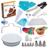 Cake and Cupcake Decorating Supplies 44 pcs - Turntable Stand, Measuring Cups and Spoons, Pastry Icing Bags, Leveler, Seamless Piping Tips, Spatulas, Scrapers, Filled Cupcakes Cutter Corer BakArto