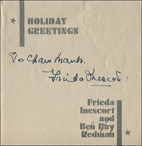 Frieda Inescort - Inscribed Christmas/Holiday Card Signed Circa 1937