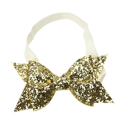Baby Girls Glitter Sequins Hairband Bow Headband Hair Accessories(Gold) (Gold Band Hair)