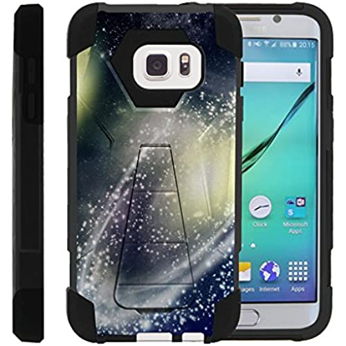 Galaxy S7, Dual Layer Armor Cover SHOCK High Impact with Built In Kickstand Case with Galaxy Designs Samsung S7 by Miniturtle - White Galaxy Design Sales