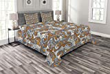 Lunarable Paisley Bedspread Set King Size, Traditional Botanical Flora Pattern with Curly Motifs Ethnic Henna Vintage Style, Decorative Quilted 3 Piece Coverlet Set with 2 Pillow Shams, Orange Blue
