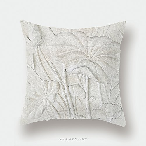 Custom Satin Pillowcase Protector Low Relief Cement Thai Style Handcraft Of Lotus Flower 446465590 Pillow Case Covers Decorative by chaoran