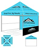 Eurmax PRE Pop up Canopy with Custom Printed Graphics - Instant Canopy Tent Portable Booth with Backwall Interior Side Printed Only (10X10)