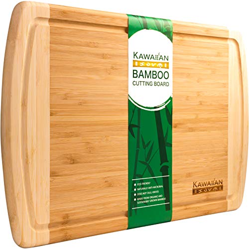 Professional Grade, Bamboo Cutting Board by Kawaiian - Precision Cutting Surface & Easy Clean Up - Extra Large, 18x12.5 inches - 100% Organic, Top Quality Wood Cutting Boards for Kitchen