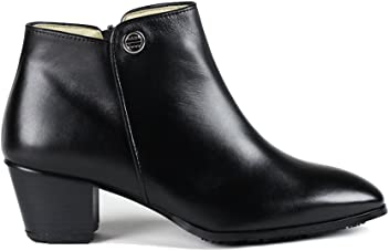 2c95bf49bb4979 Rhea Daphne Womens Side Zip Closure Slip Resistant Genuine Leather Block  Heel Ankle Boots