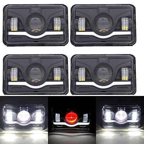 - 4 Pcs 4x6 45W LED Rectangular Headlight With DRL for Jeep Wrangler Car Square Headlight