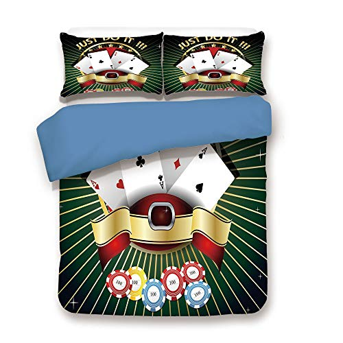 iPrint Duvet Cover Set,Blue Back,Poker Tournament Decorations,Just Do It Old Fashioned Composition Luck Passion Wager Win,Multicolor,Decorative 3 Pcs Bedding Set by 2 Pillow Shams,Twin - Set Dead Poker Walking