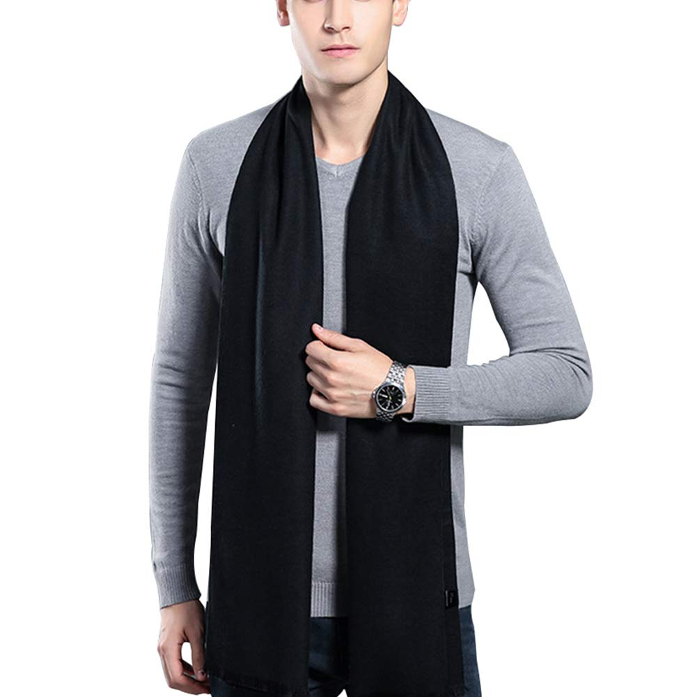 HULANG Mens Cashmere Winter Scarf Plaid Stripes Fashion Long Scarves by HULANG (Image #1)