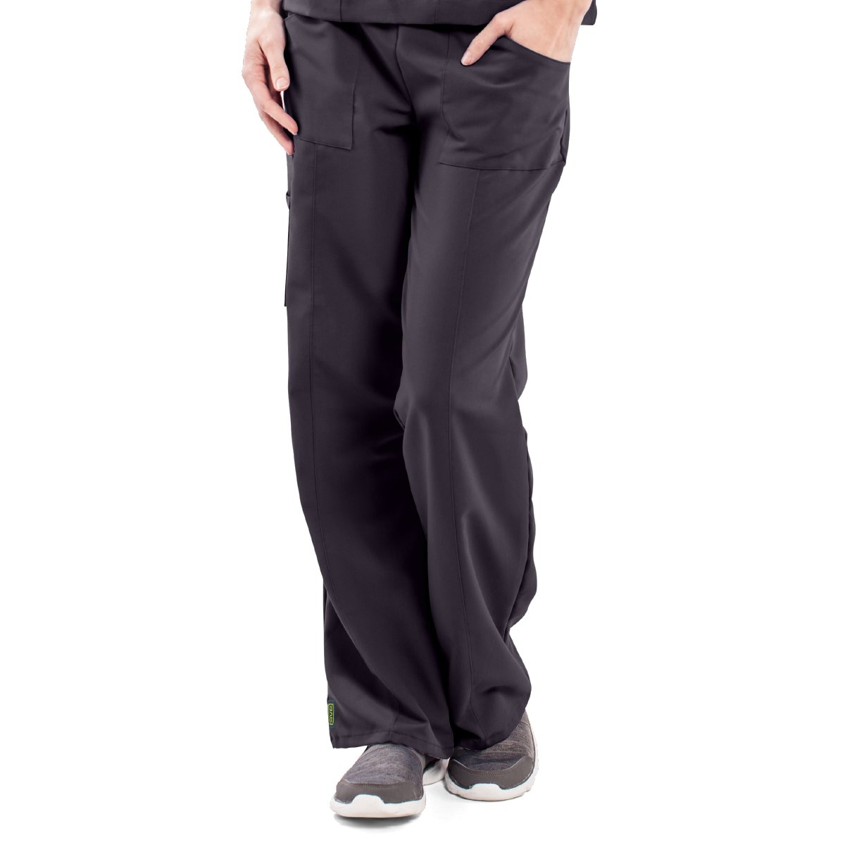 ave Women's Medical Scrub Pants, Pacific ave, Slimming Straight Leg Style Scrub Pant, Cargo Pockets, Great for Nurses, Charcoal, Medium Tall