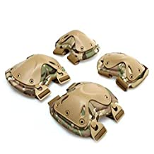 4-in-1 Anti-impact Military Tactical Knee & Elbow Pads Set , OWIKAR Hunting Paintball Shooting X-type Kneepads Protector Support for Outdoor and Extreme Sports