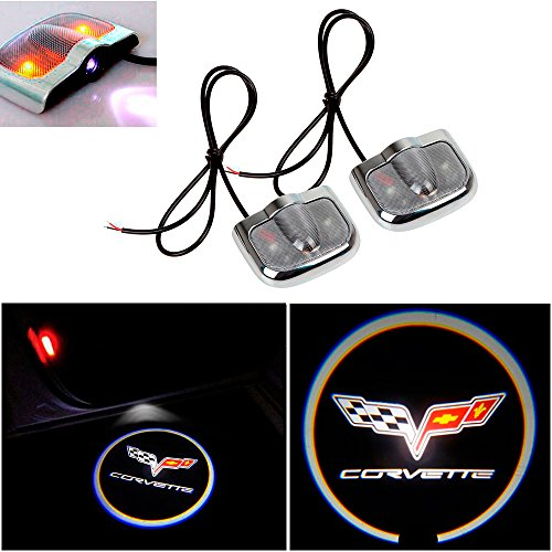 CHAMPLED for Chevrolet Corvette Laser Projector Logo Illuminated Emblem Under Door Step Courtesy Light Sticker No Drill Lighting Symbol Sign Badge LED Glow Car Auto Tuning Accessory Self Adhesive