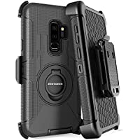 Bentoben Shockproof Heavy Duty Hybrid PC Silicone Full Body Rugged Kickstand Belt Clip Holster Protective Phone Case for Samsung Galaxy S9 Plus (Black)