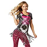 Zumba Women's Activewear Fashion Print Design Workout Tee, Bold Black 11, M