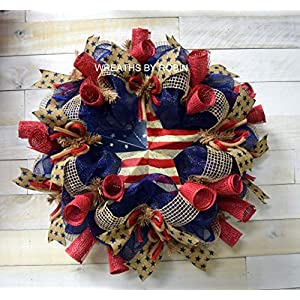 RWB RUSTIC STAR WREATH, PATRIOTIC WREATHS (1975) 26