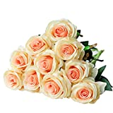 JUSTOYOU Single Full Bloom Rose Silk Flowers Artificial Bouquet for Home Office Wedding Arrangements