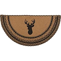 VHC Brands Classic Country Rustic & Lodge Flooring-Trophy Mount Tan Half Circle Jute Rug, 14.5 x 29, Red
