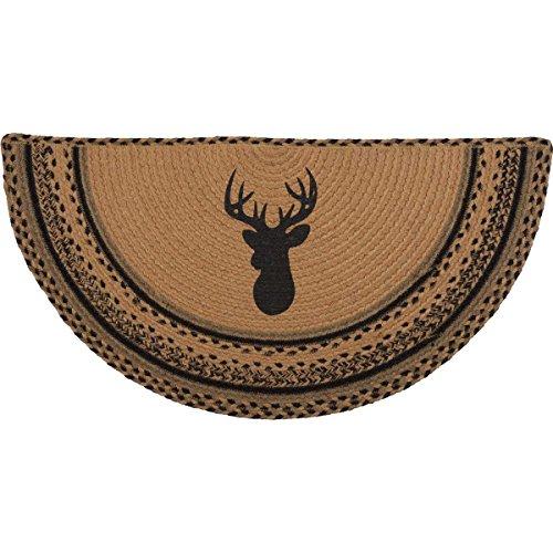 VHC Brands Classic Country Rustic & Lodge Flooring-Trophy Mount Tan Half Circle Jute Rug, 1'4.5